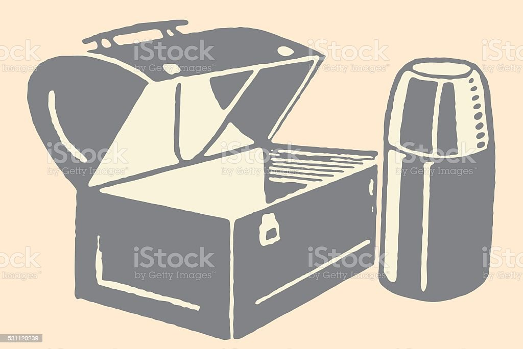 Empty Lunch Box and Thermos vector art illustration