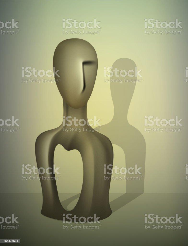 empty man idea, no feelings concept, no soul inside, what s inside, vector art illustration