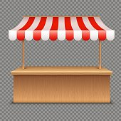 Empty market stall. Wooden tent with red and white striped awning isolated on transparent background