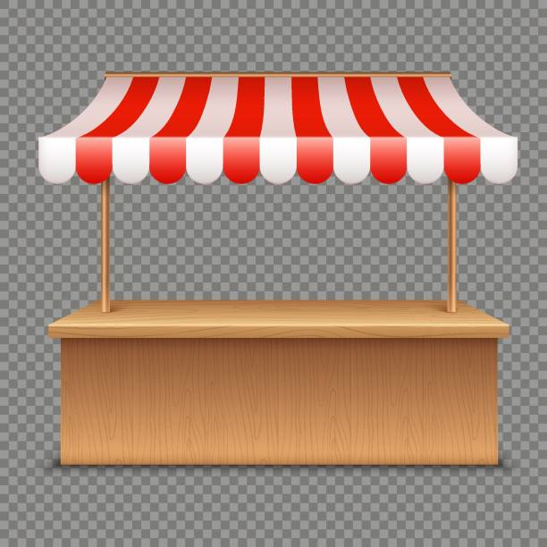 leere marktstand. hölzernen zelt mit rot-weiß gestreifte markise auf transparenten hintergrund - dachzelt stock-grafiken, -clipart, -cartoons und -symbole