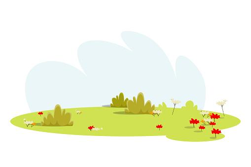 Empty meadow, lawn flat vector illustration