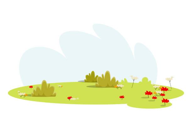 ilustraciones, imágenes clip art, dibujos animados e iconos de stock de prado vacío, ilustración vectorial plana de césped - backyard