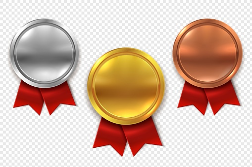 Empty medals. Blank round gold silver and bronze medal with red ribbons isolated vector set