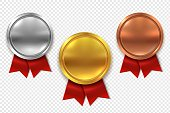 Empty medals. Blank round gold silver and bronze metal medal with red ribbons isolated vector set