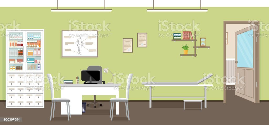 Empty Medical Office Interior Design Doctors Consultation Room In