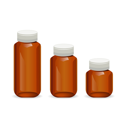 Empty medicine bottles, isolated on white background