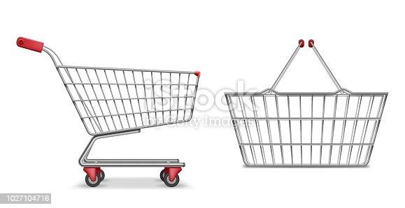 istock Empty metallic supermarket shopping cart side view isolated. Realistic supermarket basket, retail pushcart vector illustration 1027104716