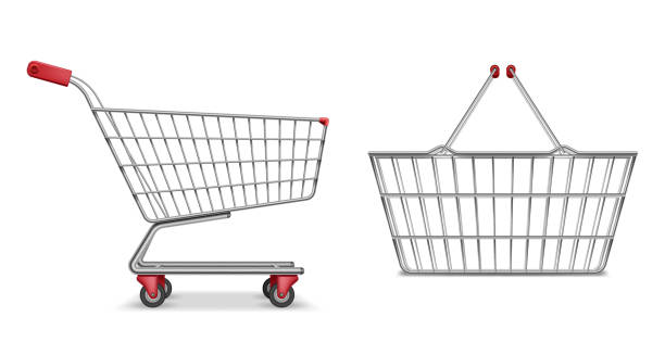 Empty metallic supermarket shopping cart side view isolated. Realistic supermarket basket, retail pushcart vector illustration Empty metallic supermarket shopping cart side view isolated. Realistic supermarket basket, retail pushcart vector illustration EPS 10 cart stock illustrations