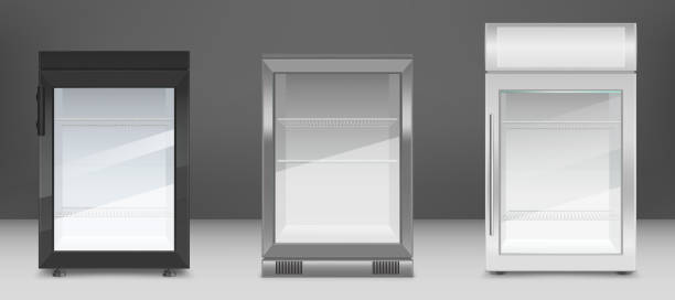 Empty mini refrigerators with clear glass door Empty mini refrigerator with transparent glass door. Vector black, gray and white fridges for drink or fresh food in supermarket or kitchen. Modern coolers with shelves and handle in front view refrigerator stock illustrations