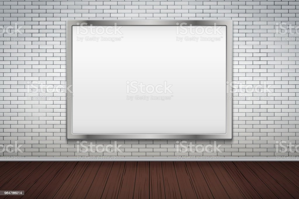 Empty mockup billboard on brick wall royalty-free empty mockup billboard on brick wall stock illustration - download image now