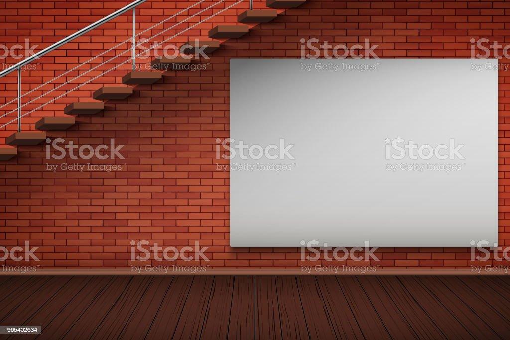 Panneau d'affichage vide maquette sur le mur de briques - clipart vectoriel de Affiche libre de droits