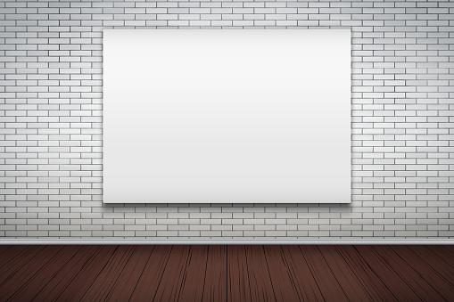 벽돌 벽에 빈 이랑 광고 판 0명에 대한 스톡 벡터 아트 및 기타 이미지