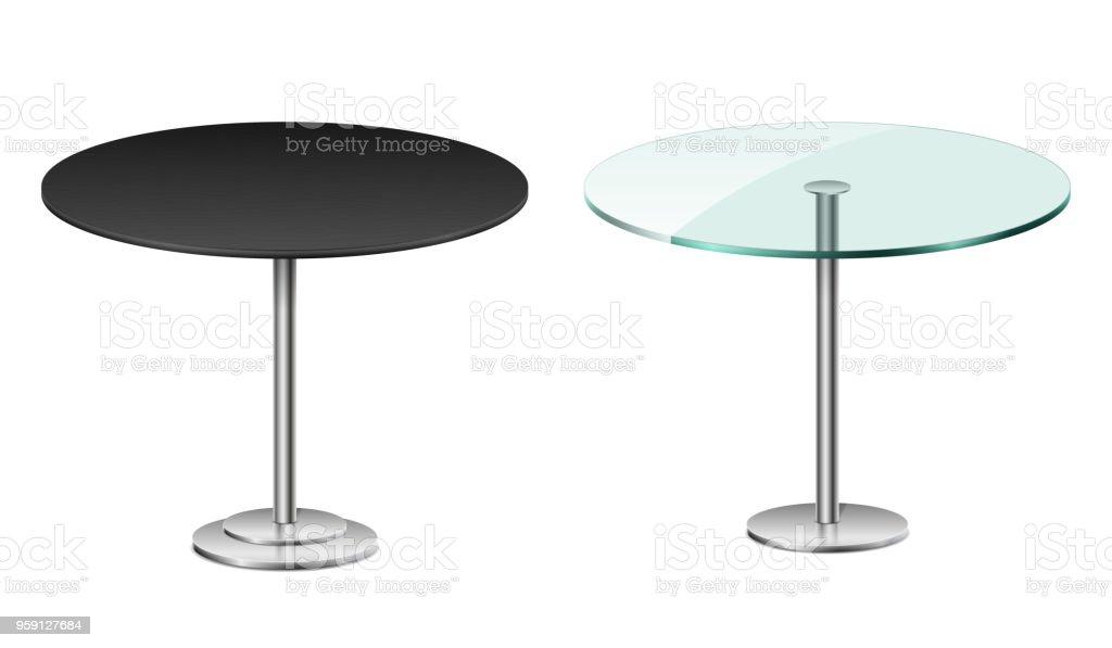 Ronde Glas Tafel.Lege Moderne Zwarte Ronde Tafel Op Wit Wordt Geisoleerd Vector