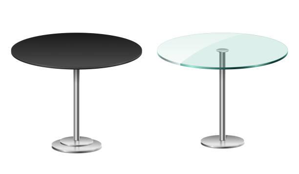 stockillustraties, clipart, cartoons en iconen met lege moderne zwarte ronde tafel op wit wordt geïsoleerd. vector glazen tafel met metalen standaard sjabloon voor restaurant of café interieur. vector illustratie - tafel