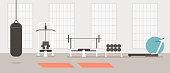 Empty modern gym concept. Vector flat cartoon graphic design