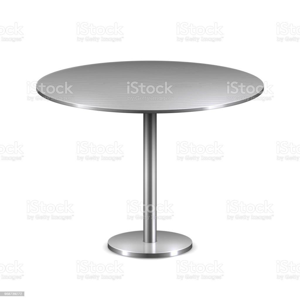 Cantine De Voyage Metallique vide moderne table ronde en métal stand isolé sur fond blanc