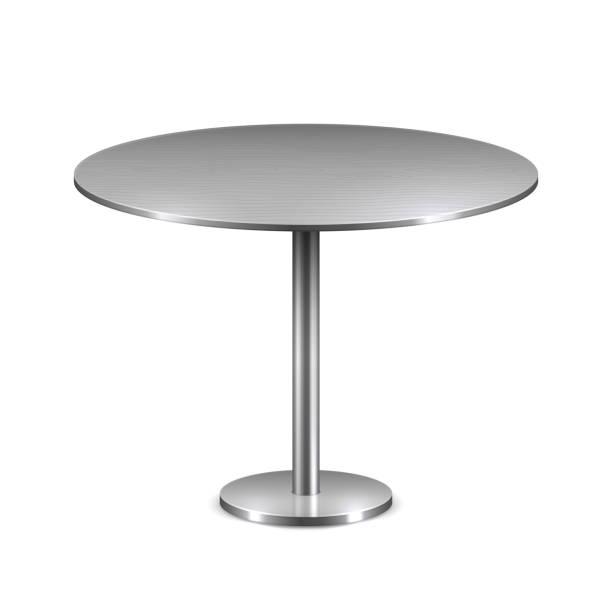 stockillustraties, clipart, cartoons en iconen met lege moderne ronde tafel met metalen staan geïsoleerd op witte achtergrond. vector sjabloon voor restaurant interieur - tafel restaurant top