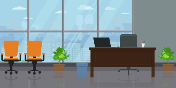 ilustrações, clipart, desenhos animados e ícones de interior de vazio moderno amplo escritório com grande janela e vista da paisagem urbana. plana e sólida cor ilustração vetorial. - ceo