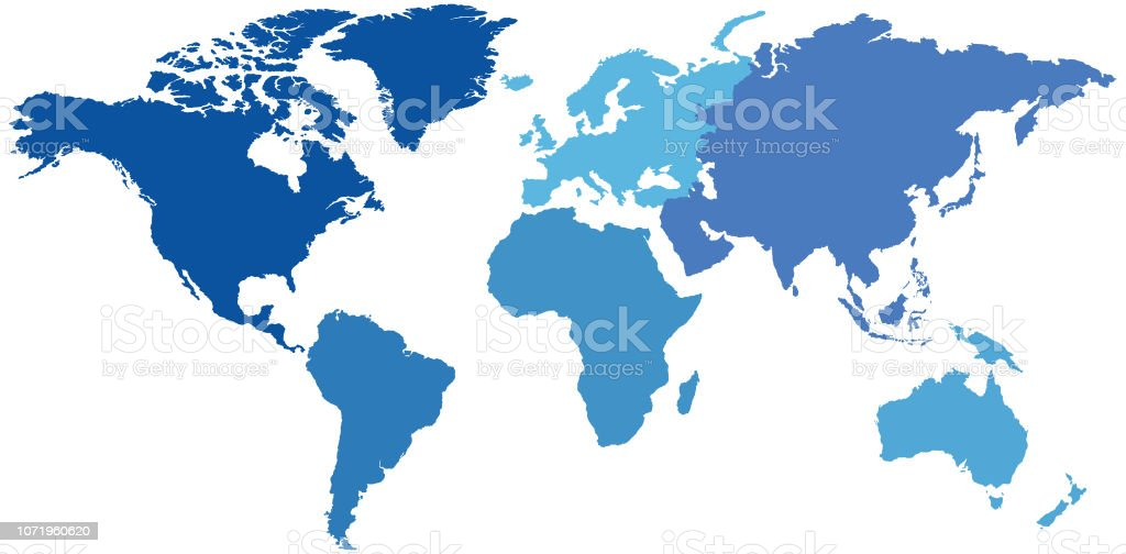 Map Of Africa Empty.Empty Monochromatic Blue World Map By Continent Stock