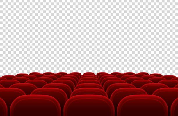 leere film theater-auditorium mit roten sitzen. kino halle innen isoliert vektor-illustration - plüschmuster stock-grafiken, -clipart, -cartoons und -symbole