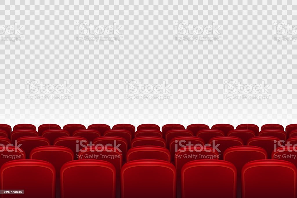 Empty movie theater auditorium with red seats. Rows of red cinema movie theater seats on transparent background, vector illustration vector art illustration