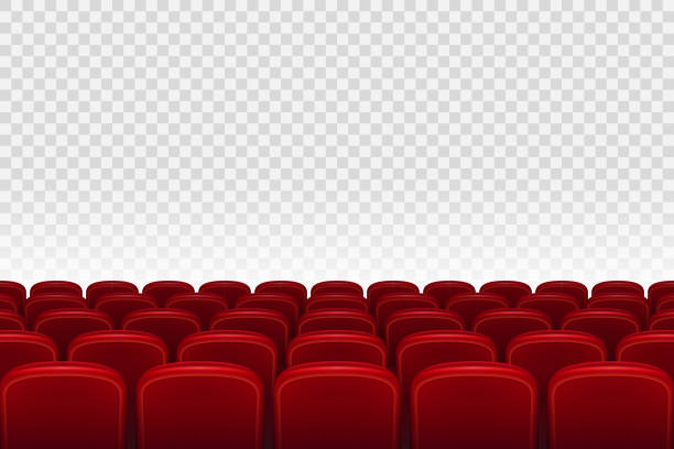 Empty movie theater auditorium with red seats. Rows of red cinema movie theater seats on transparent background, vector illustration Empty movie theater auditorium with red seats. Rows of red cinema movie theater seats on transparent background, vector illustration EPS 10 armchair stock illustrations