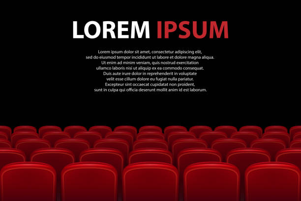 Empty movie theater auditorium with red seats. Rows of red cinema seats with black screen with sample text background. Vector illustration Empty movie theater auditorium with red seats. Rows of red cinema seats with black screen with sample text background. Vector illustration EPS 10. armchair stock illustrations