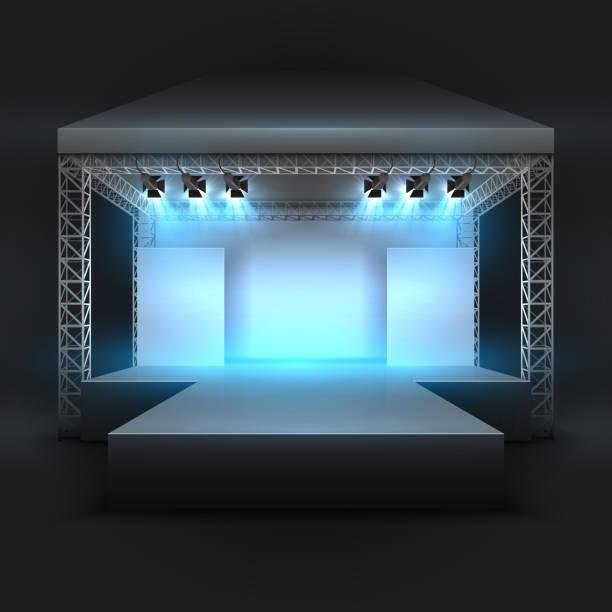 illustrazioni stock, clip art, cartoni animati e icone di tendenza di empty music show stage with spotlights beams. concert performance podium vector backdrop - concerto
