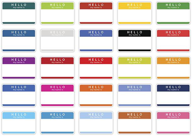 ilustrações, clipart, desenhos animados e ícones de vazio etiqueta olá, meu nome é adesivo etiqueta cor label - reunião de família