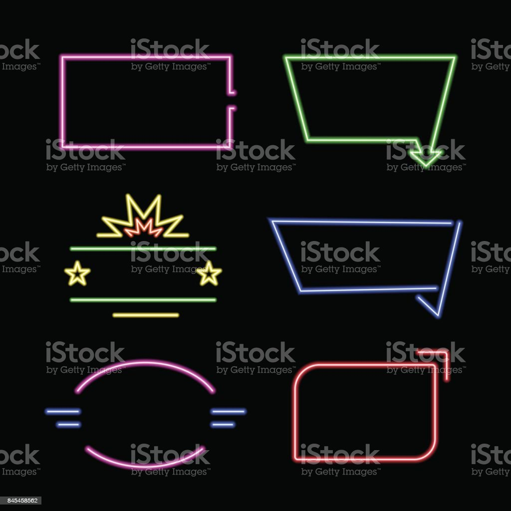 Empty neon signs. Set of bright neon frames.