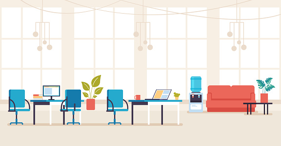 Empty no people bank office concept. Vector flat cartoon graphic design illustration