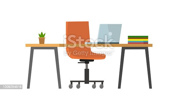 istock Empty no people bank office concept. Vector flat cartoon graphic design illustration 1209254516