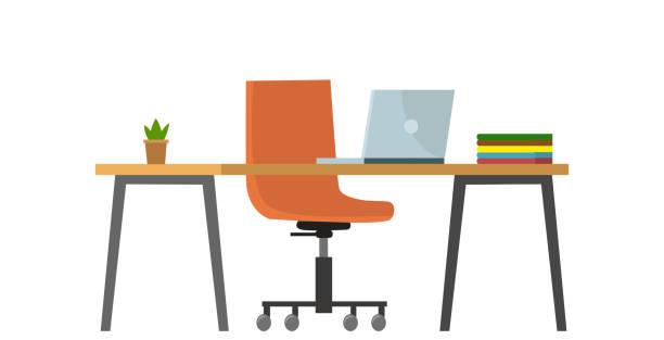 bildbanksillustrationer, clip art samt tecknat material och ikoner med töm inga människor bankkontor koncept. vektor platt tecknad grafisk design illustration - bord