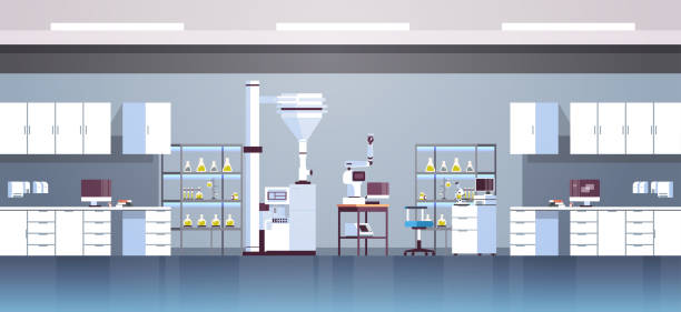 ilustrações de stock, clip art, desenhos animados e ícones de empty no people chemical research laboratory with different equipment scientist workplace science education chemistry concept modern lab interior flat horizontal - laboratory