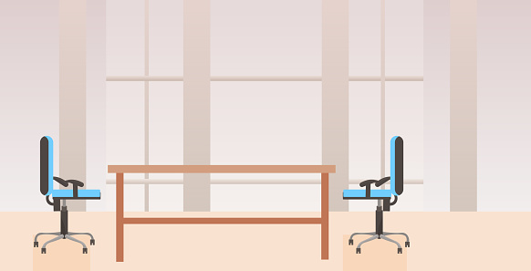 empty no people co-working center cabinet modern workplace desk creative office interior flat horizontal