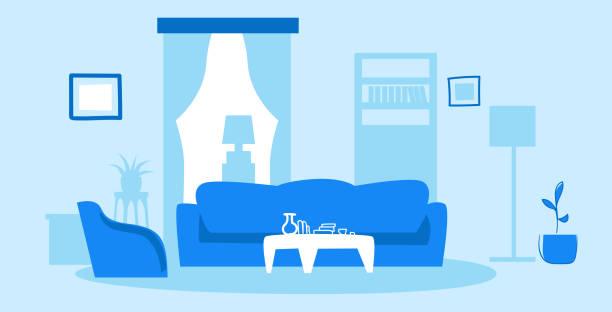空の人なしモダンリビングルームインテリアコンテンポラリーアパートメント家具スケッチ落書き水平 - リビング点のイラスト素材/クリップアート素材/マンガ素材/アイコン素材