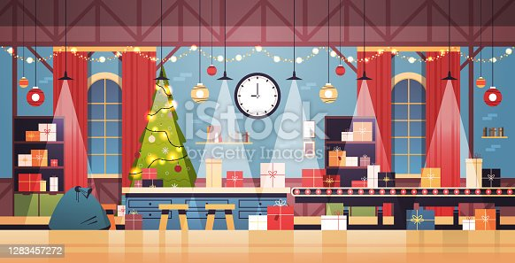 empty no people santa claus christmas factory with gifts on machinery line happy new year winter holidays celebration