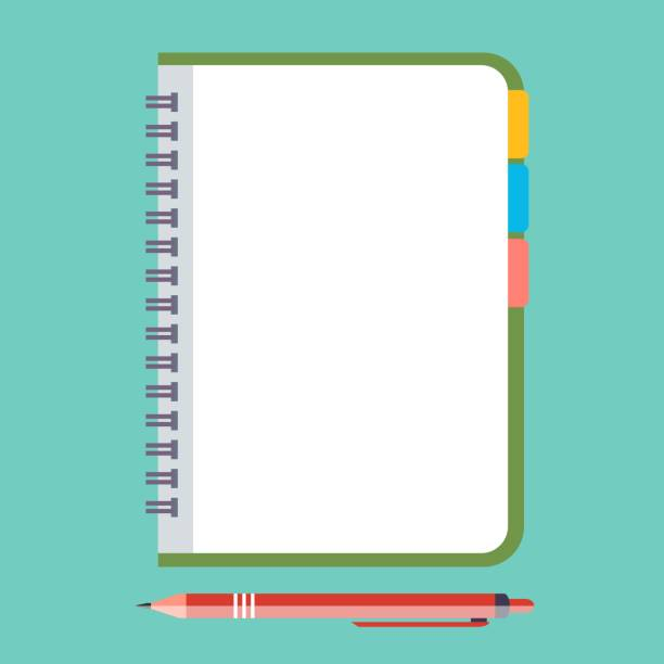 Empty Notepad with pen Empty Notepad with pen. Vector illustration in flat style. Reminder concept icon. diary stock illustrations