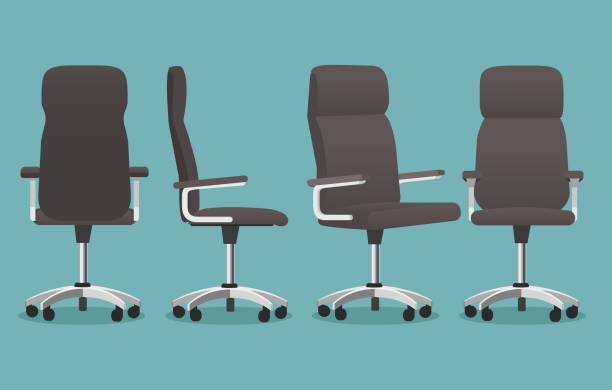 Empty office chair Empty office chair. Desk chairs vector illustration, cartoon offices armchair for businessman isolated on dark background office chair stock illustrations