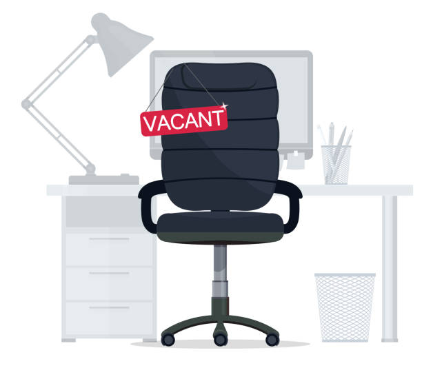 Empty Office chair with vacant sign. Employment, vacancy and hiring job. Vector Empty Office chair with vacant sign. Employment, vacancy and hiring job, Business recruiting. Ergonomic armchair for a new executive director. Vector office chair stock illustrations