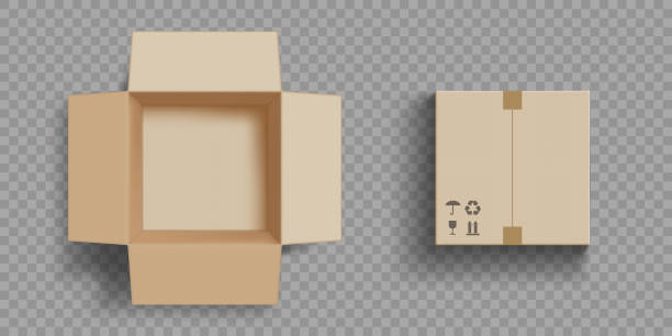 Empty open and closed cardboard box. Empty open and closed cardboard box. Isolated on a transparent background. Vector illustration. cardboard box stock illustrations