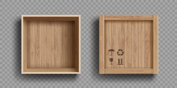 puste otwarte i zamknięte drewniane pudełko. odizolowane na przezroczystym tle - drewno tworzywo stock illustrations