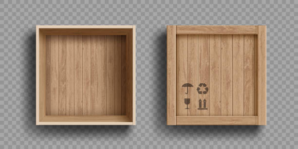 Empty open and closed wooden box. Isolated on a transparent background Empty open and closed wooden box. Isolated on a transparent background. Vector illustration. package stock illustrations