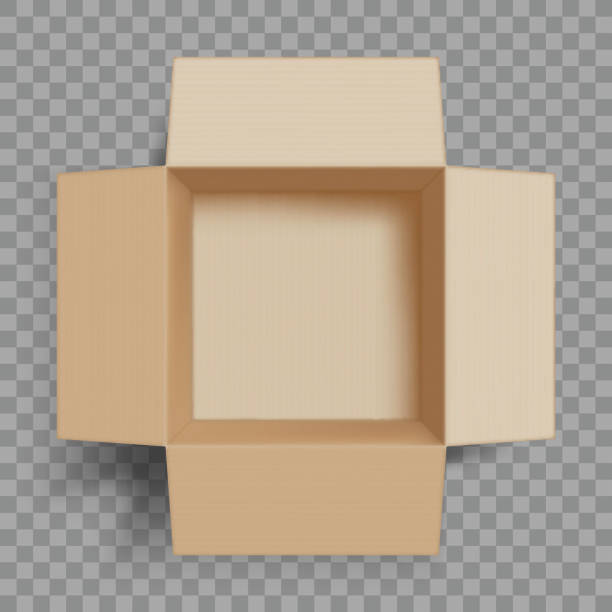 Empty open cardboard box. Isolated on a transparent background. Empty open cardboard box. Isolated on a transparent background. Vector illustration. cardboard box stock illustrations