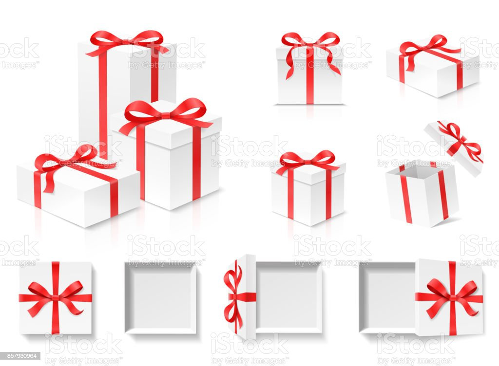 Empty open gift box set with red color bow knot and ribbon isolated on white background.