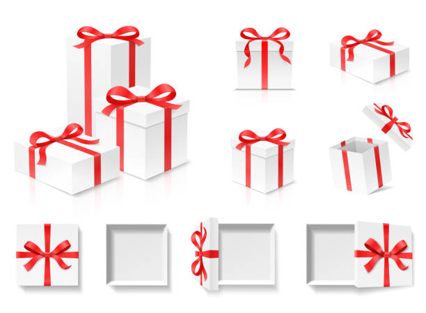 Empty open gift box set with red color bow knot and ribbon isolated on white background. Empty open gift box set with red color bow knot and ribbon isolated on white background. Happy birthday, Christmas, New Year, Wedding or Valentine Day package concept. Closeup Vector 3d illustration gifts stock illustrations