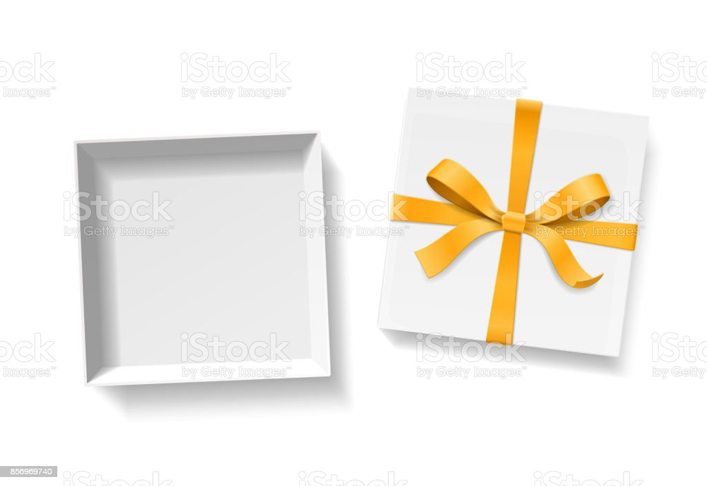 Empty open gift box with gold color bow knot and ribbon isolated on empty open gift box with gold color bow knot and ribbon isolated on white background negle Gallery