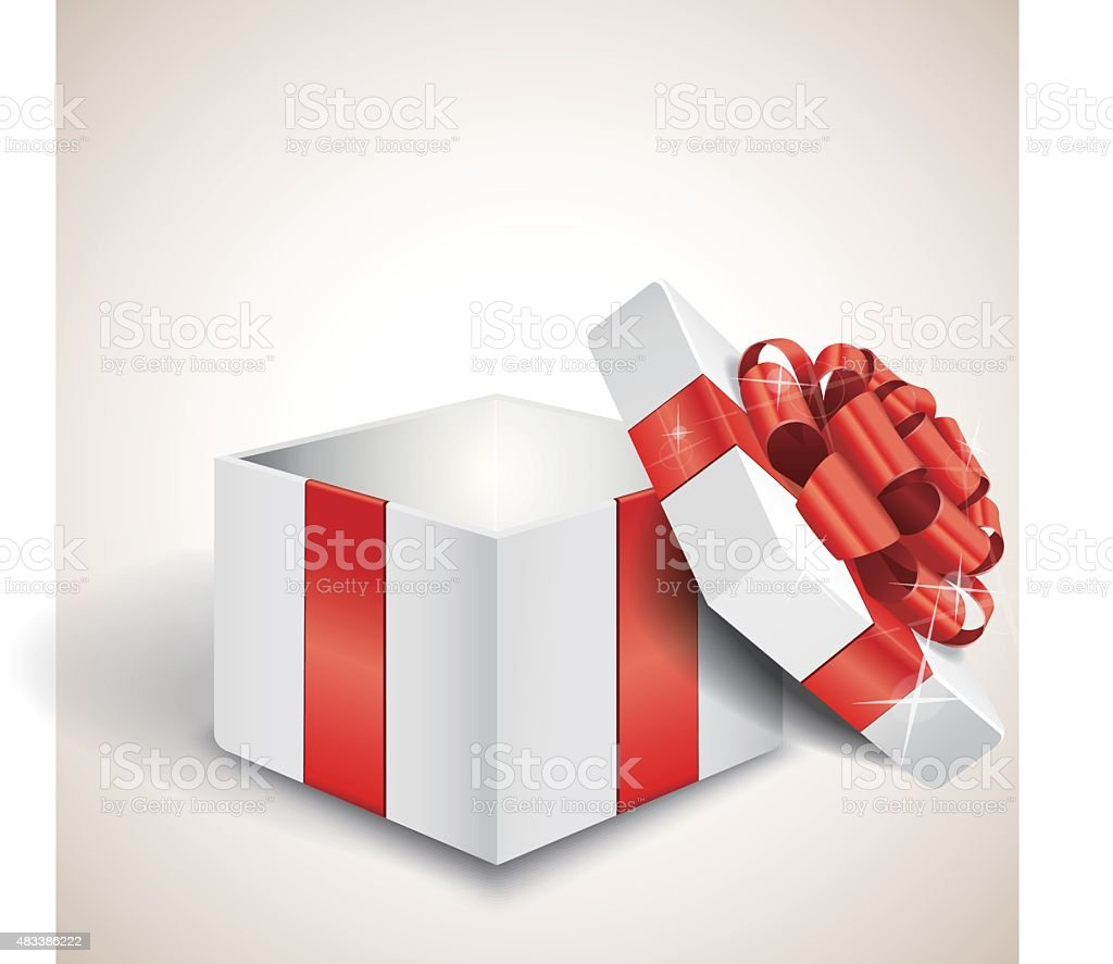 Empty open gift box with red bow vector art illustration
