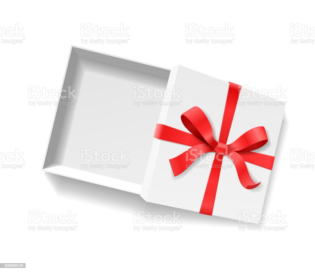 Empty open gift box with red color bow knot and ribbon isolated on empty open gift box with red color bow knot and ribbon isolated on white background negle Gallery