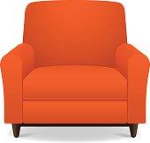istock Empty orange fabric armchair with wooden legs 457717745